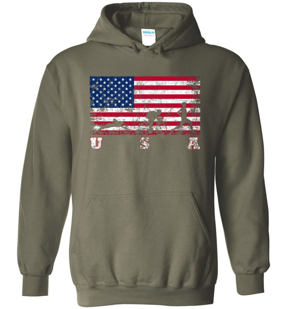 American Flag Triathlon Hoodie - Military Green / M