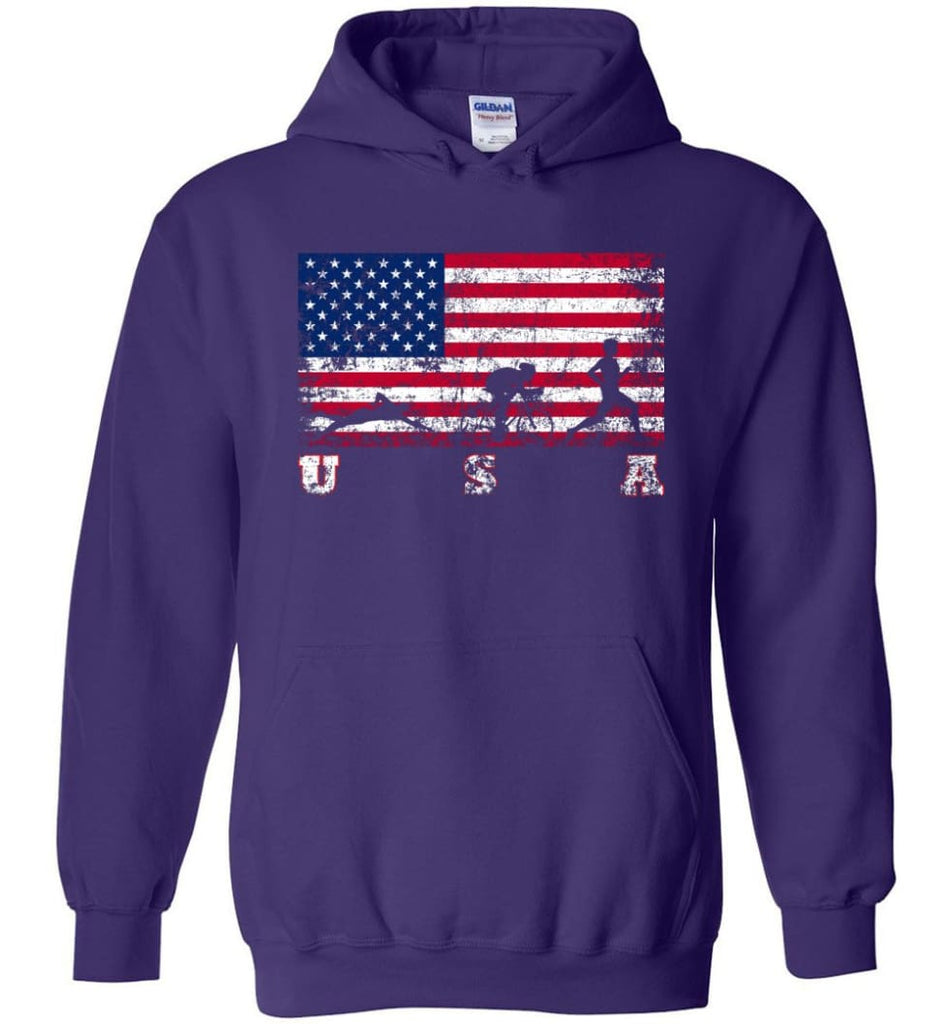 American Flag Triathlon Hoodie - Purple / M