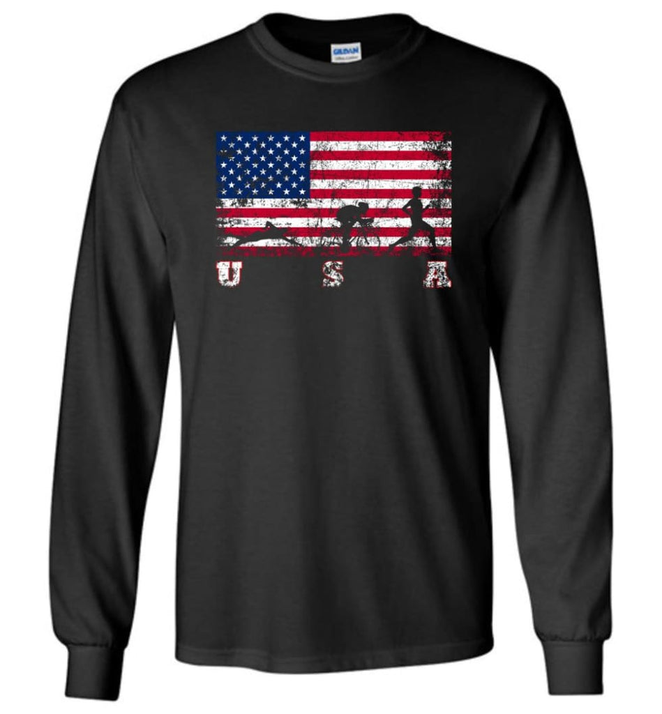American Flag Triathlon - Long Sleeve T-Shirt - Black / M