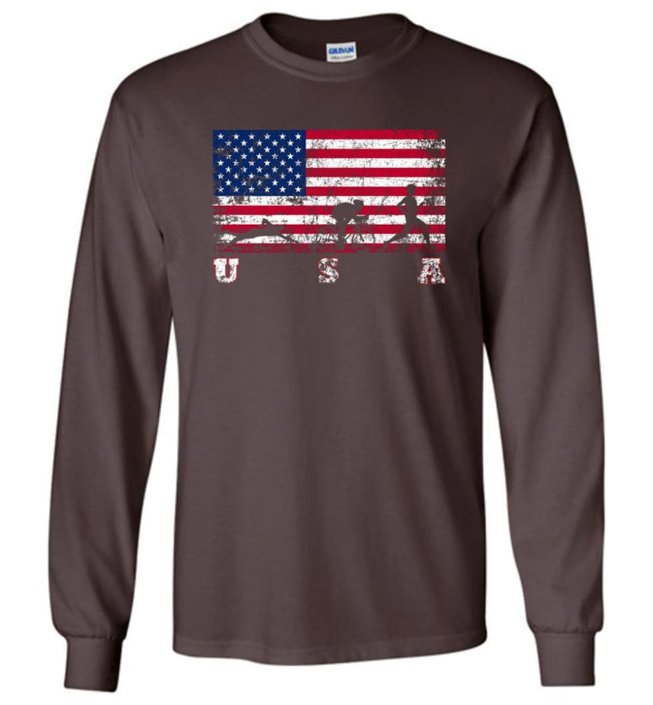 American Flag Triathlon - Long Sleeve T-Shirt - Dark Chocolate / M