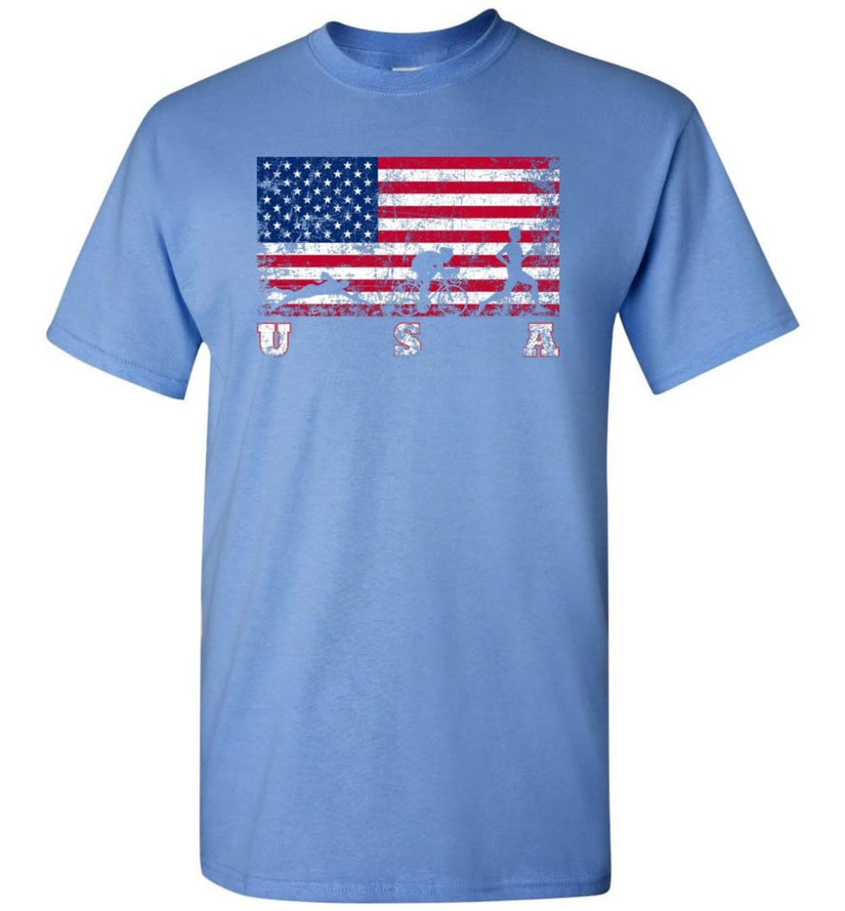 American Flag Triathlon - Short Sleeve T-Shirt - Carolina Blue / S