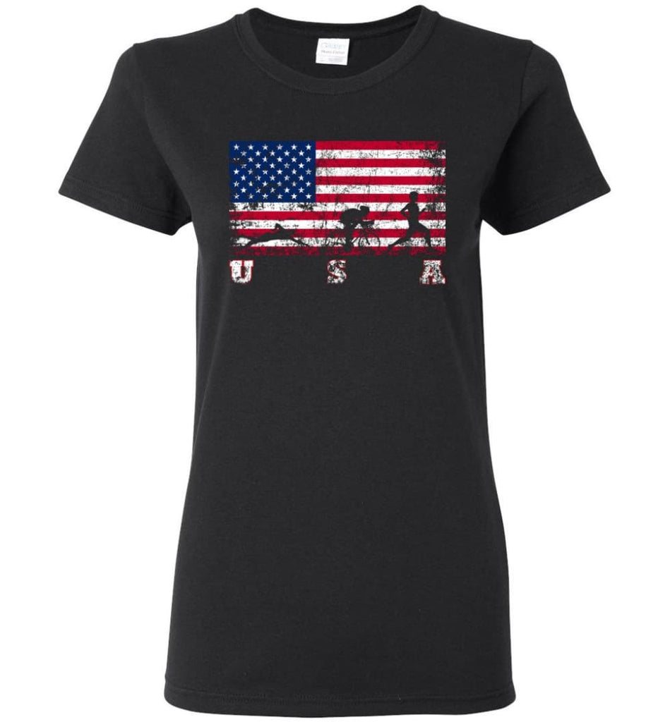 American Flag Triathlon Women Tee - Black / M