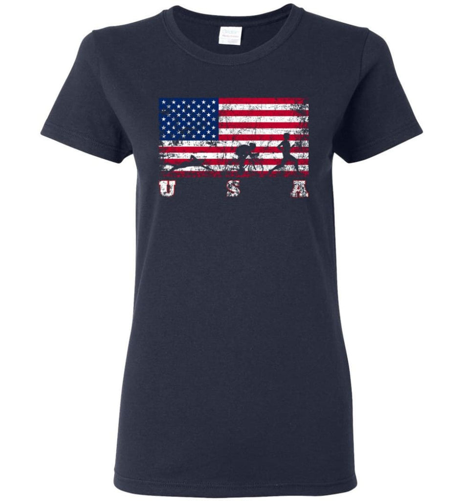 American Flag Triathlon Women Tee - Navy / M