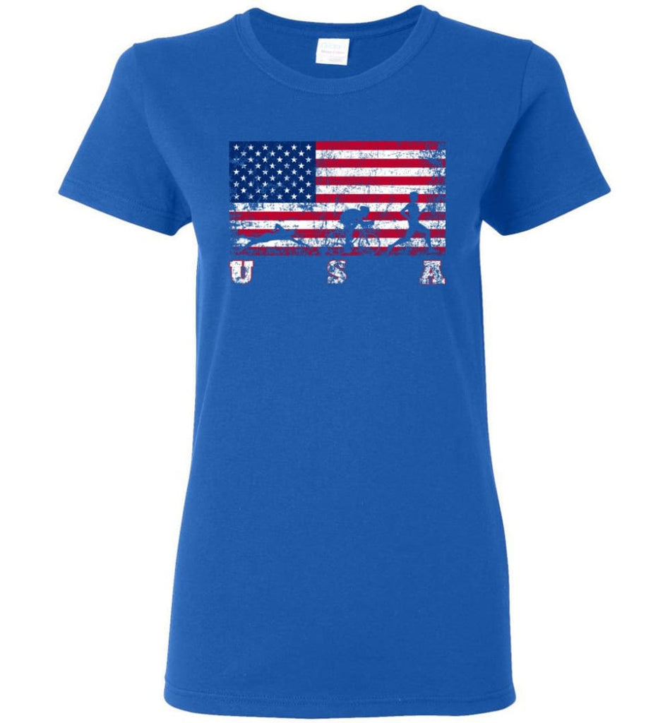 American Flag Triathlon Women Tee - Royal / M