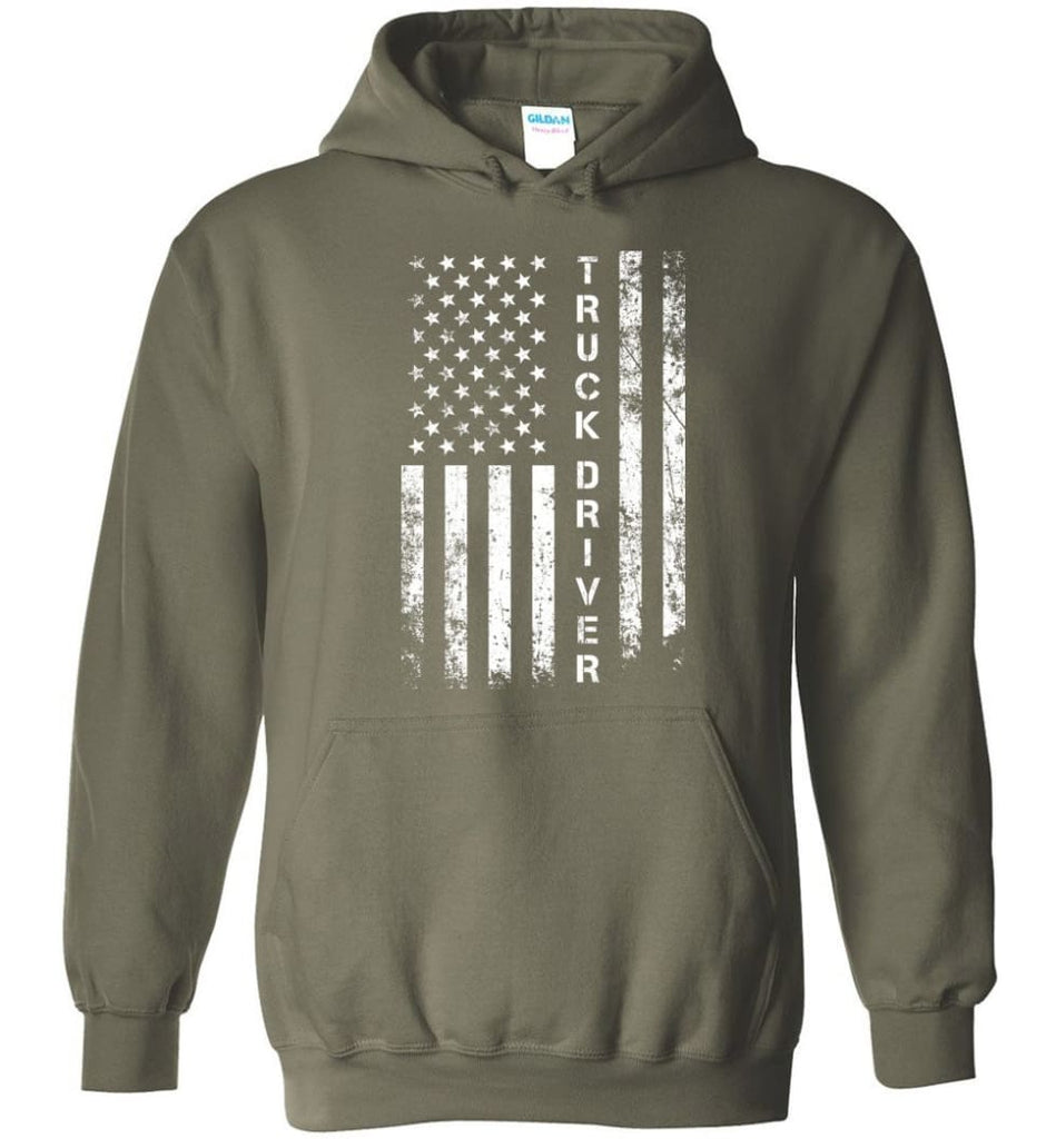 American Flag Truck Driver - Hoodie - Military Green / M