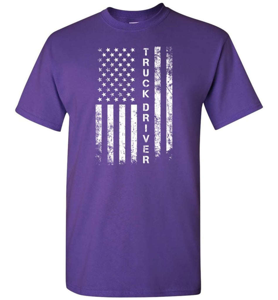 American Flag Truck Driver - Short Sleeve T-Shirt - Purple / S