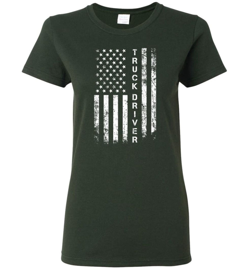 American Flag Truck Driver Women Tee - Forest Green / M