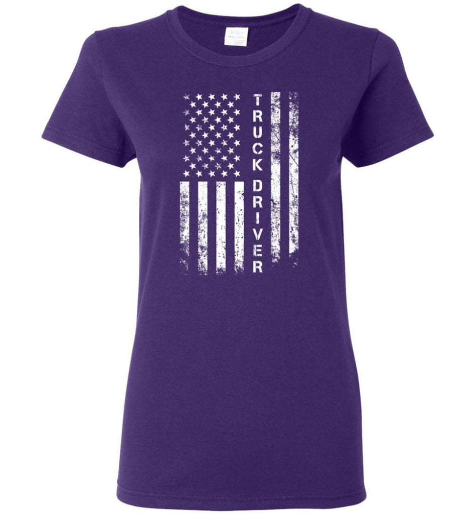 American Flag Truck Driver Women Tee - Purple / M
