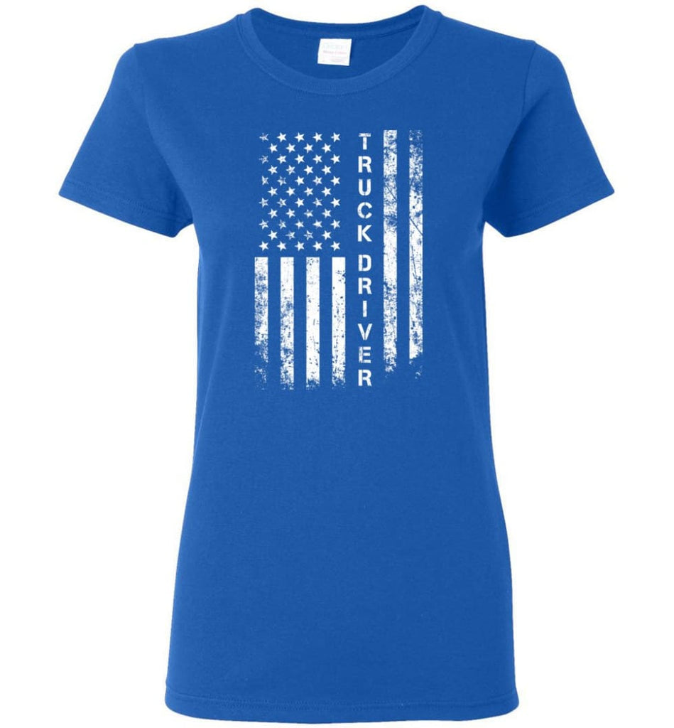 American Flag Truck Driver Women Tee - Royal / M