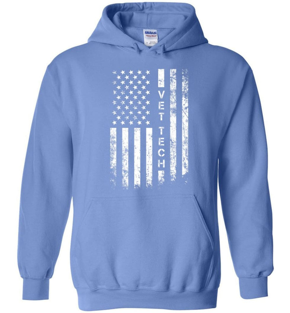 American Flag Vet Tech - Hoodie - Carolina Blue / M