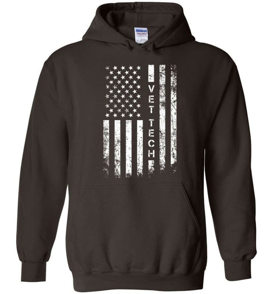 American Flag Vet Tech - Hoodie - Dark Chocolate / M