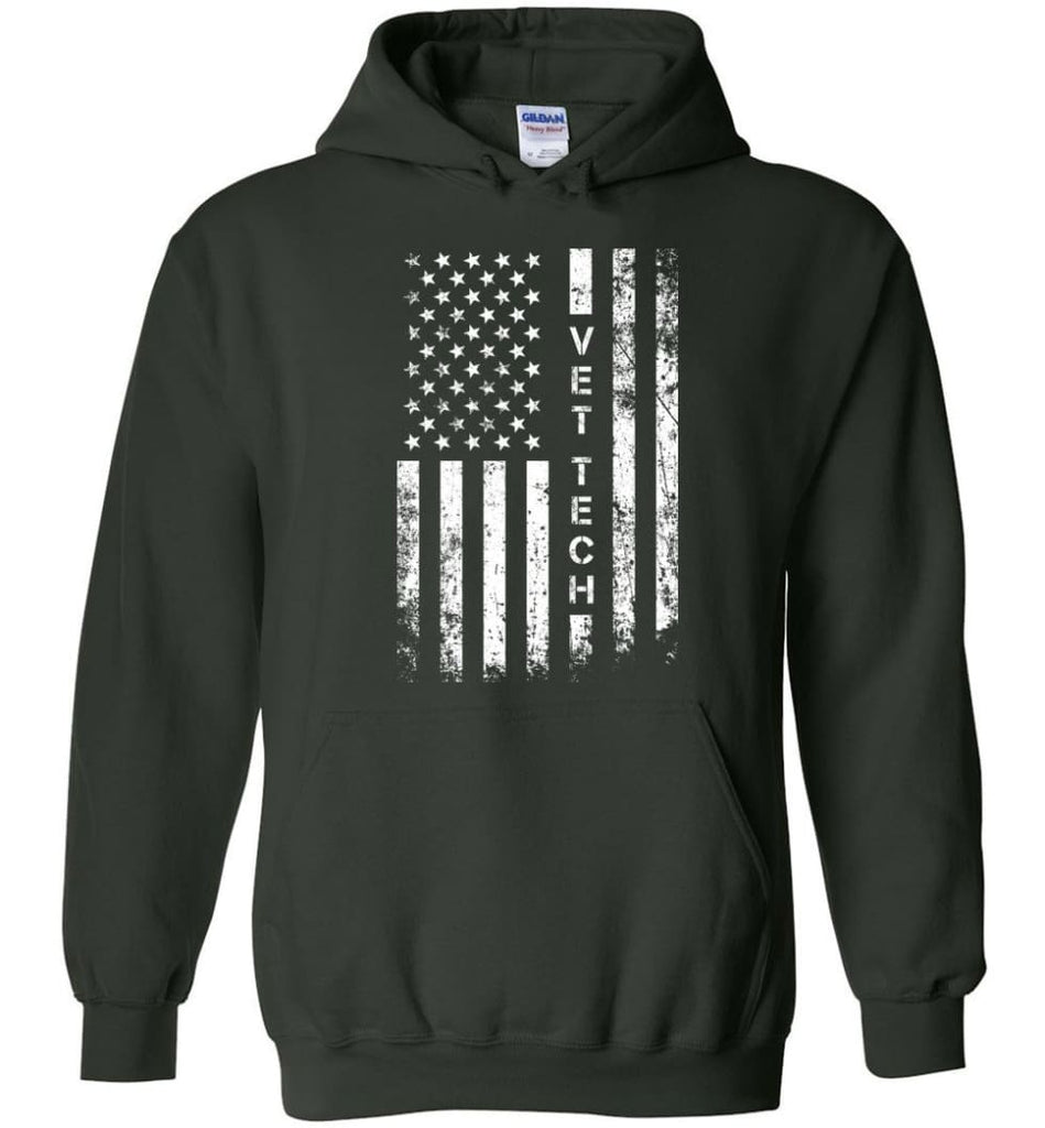 American Flag Vet Tech - Hoodie - Forest Green / M