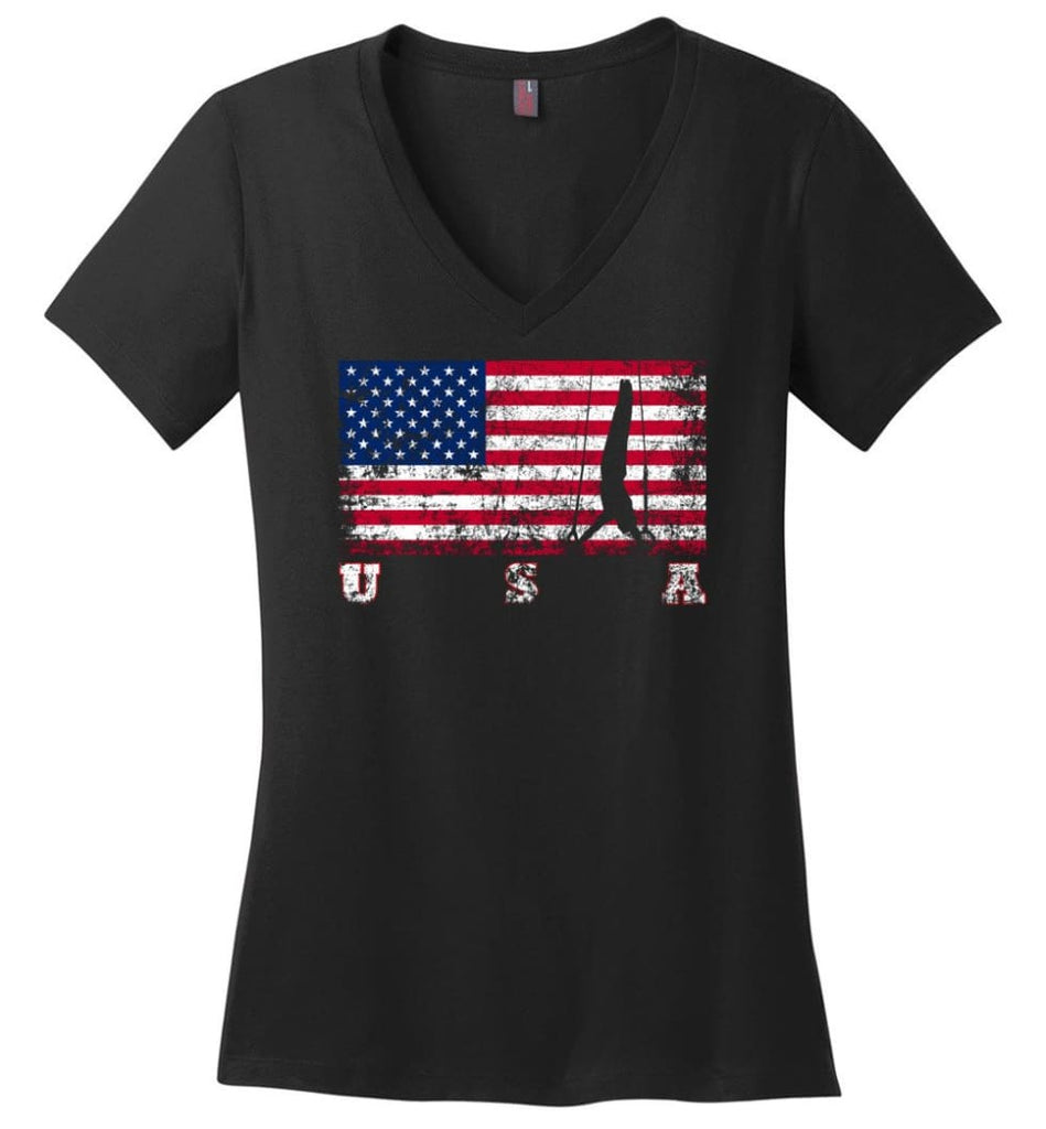 American Flag Veteran Ladies V-Neck - Black / M