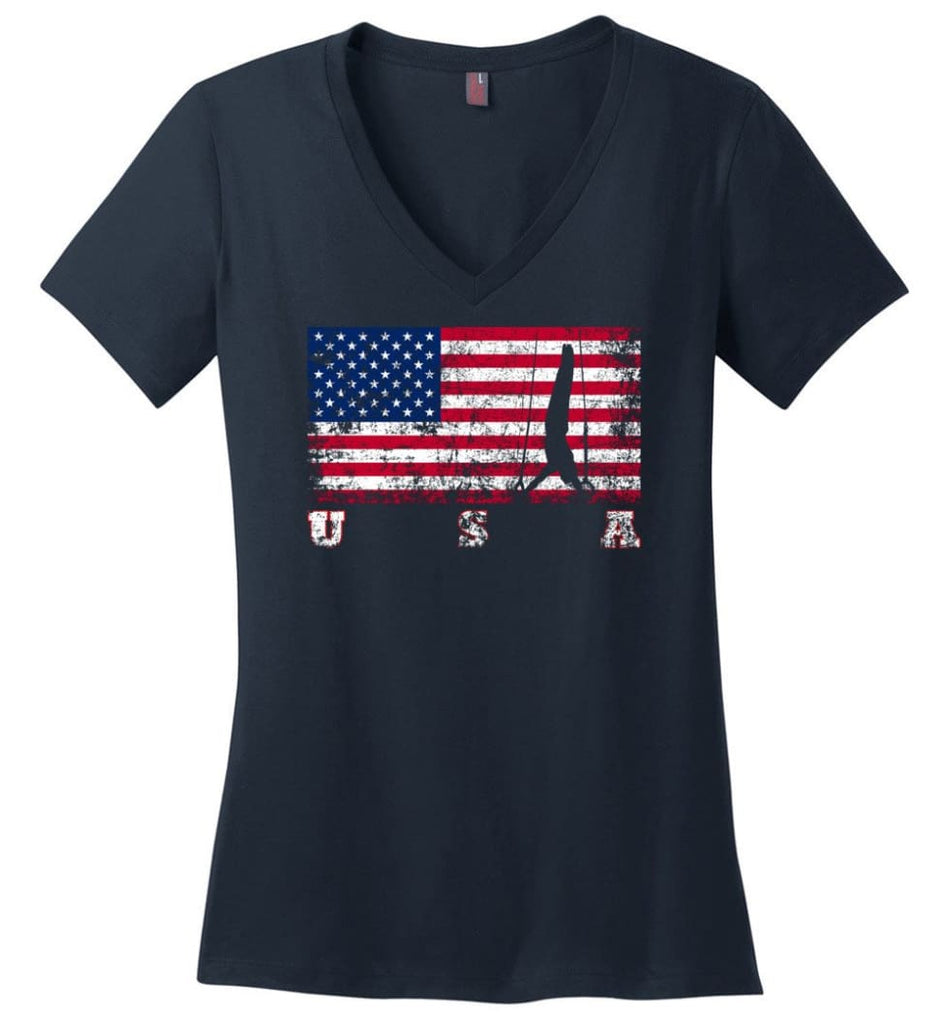 American Flag Veteran Ladies V-Neck - Navy / M
