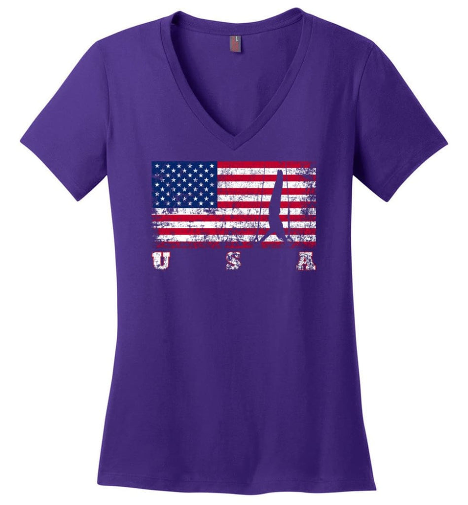 American Flag Veteran Ladies V-Neck - Purple / M