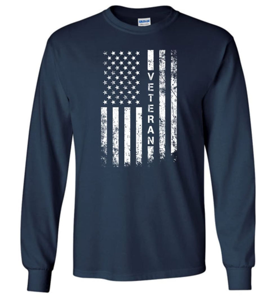 American Flag Veteran - Long Sleeve T-Shirt - Navy / M