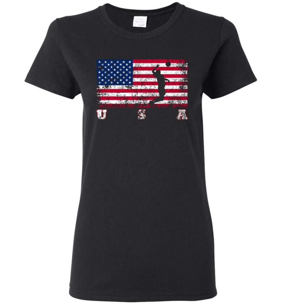 American Flag Volleyball Women Tee - Black / M