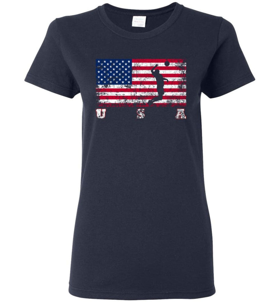American Flag Volleyball Women Tee - Navy / M