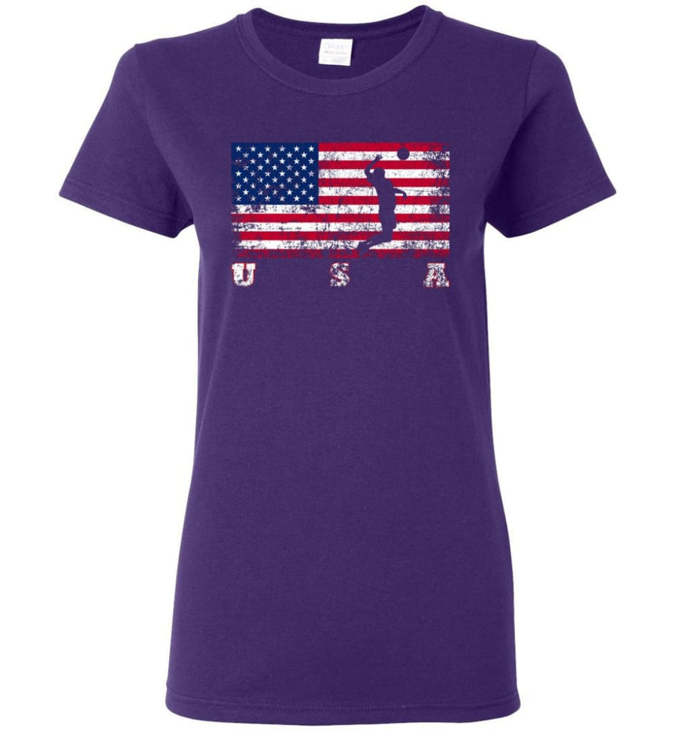 American Flag Volleyball Women Tee - Purple / M