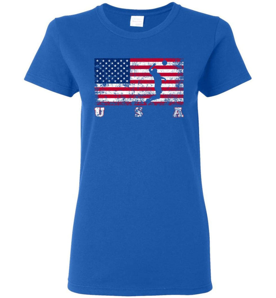 American Flag Volleyball Women Tee - Royal / M