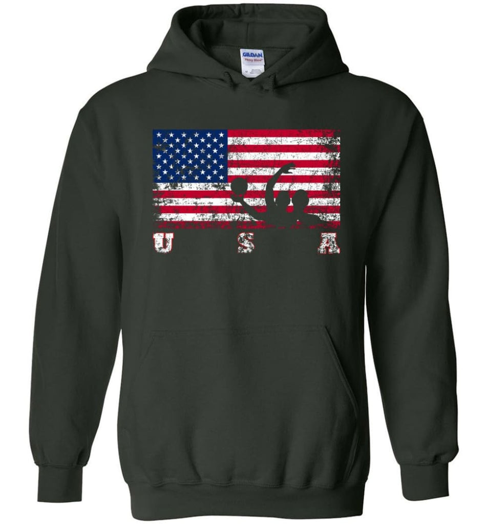 American Flag Water Polo - Hoodie - Forest Green / M