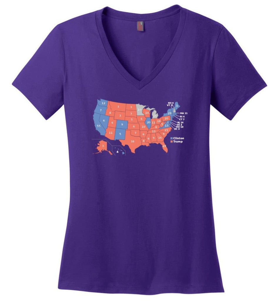 American Flag Water Polo Ladies V-Neck - Purple / M