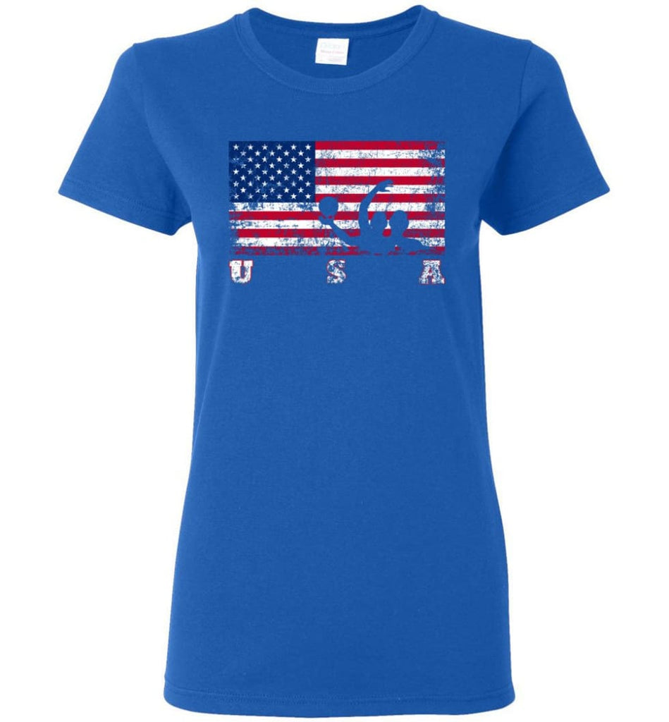 American Flag Water Polo Women Tee - Royal / M