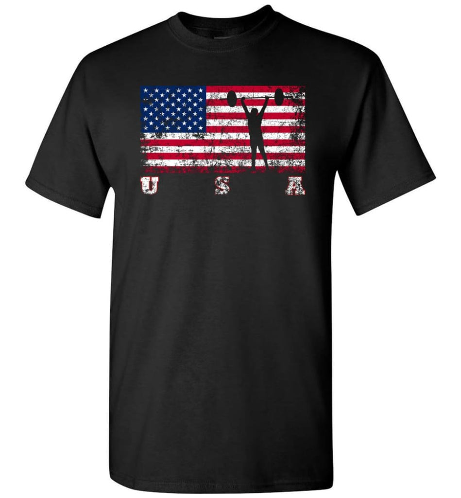 American Flag Weightlifting - Short Sleeve T-Shirt - Black / S