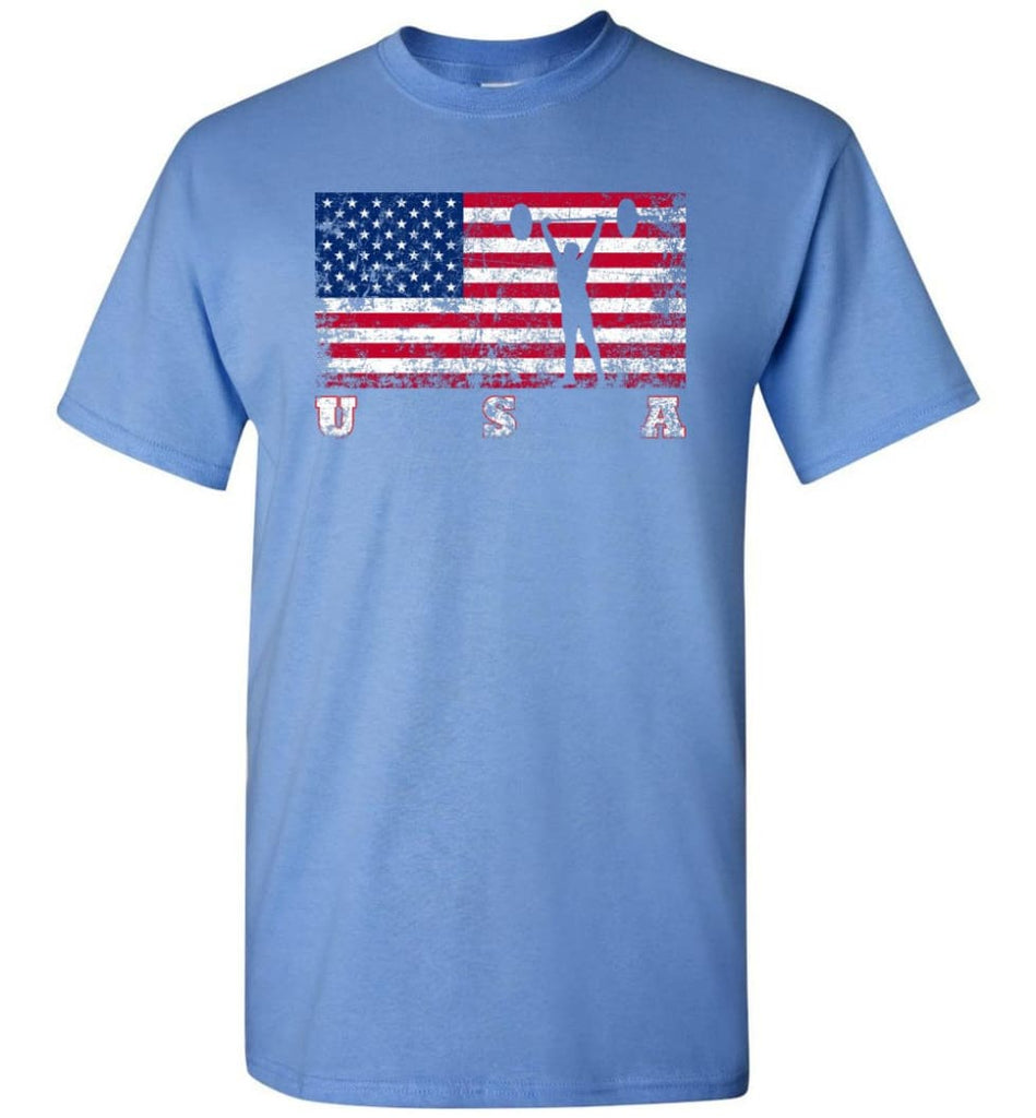 American Flag Weightlifting - Short Sleeve T-Shirt - Carolina Blue / S