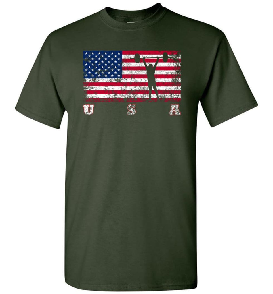 American Flag Weightlifting - Short Sleeve T-Shirt - Forest Green / S