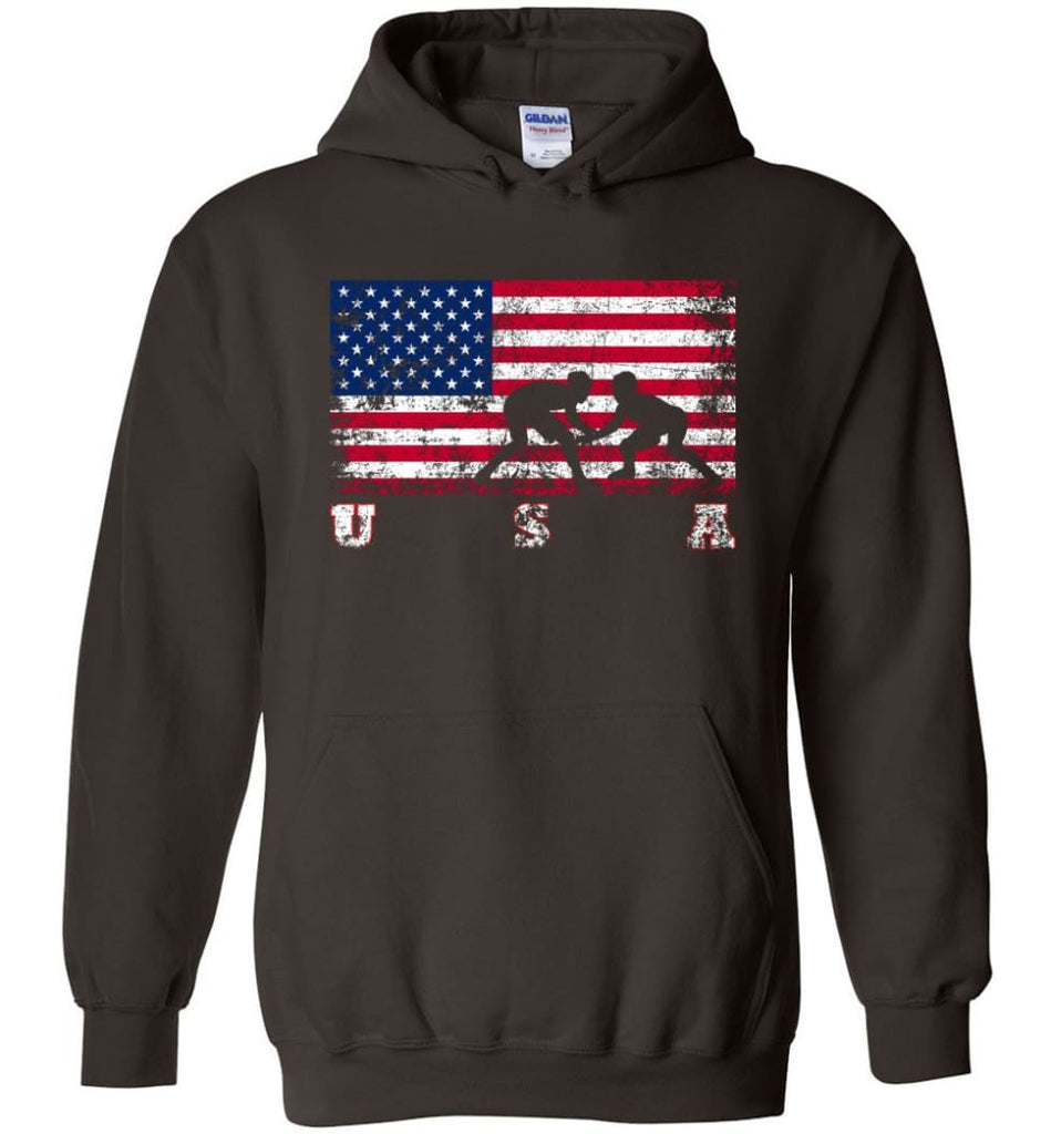 American Flag Wrestling - Hoodie - Dark Chocolate / M