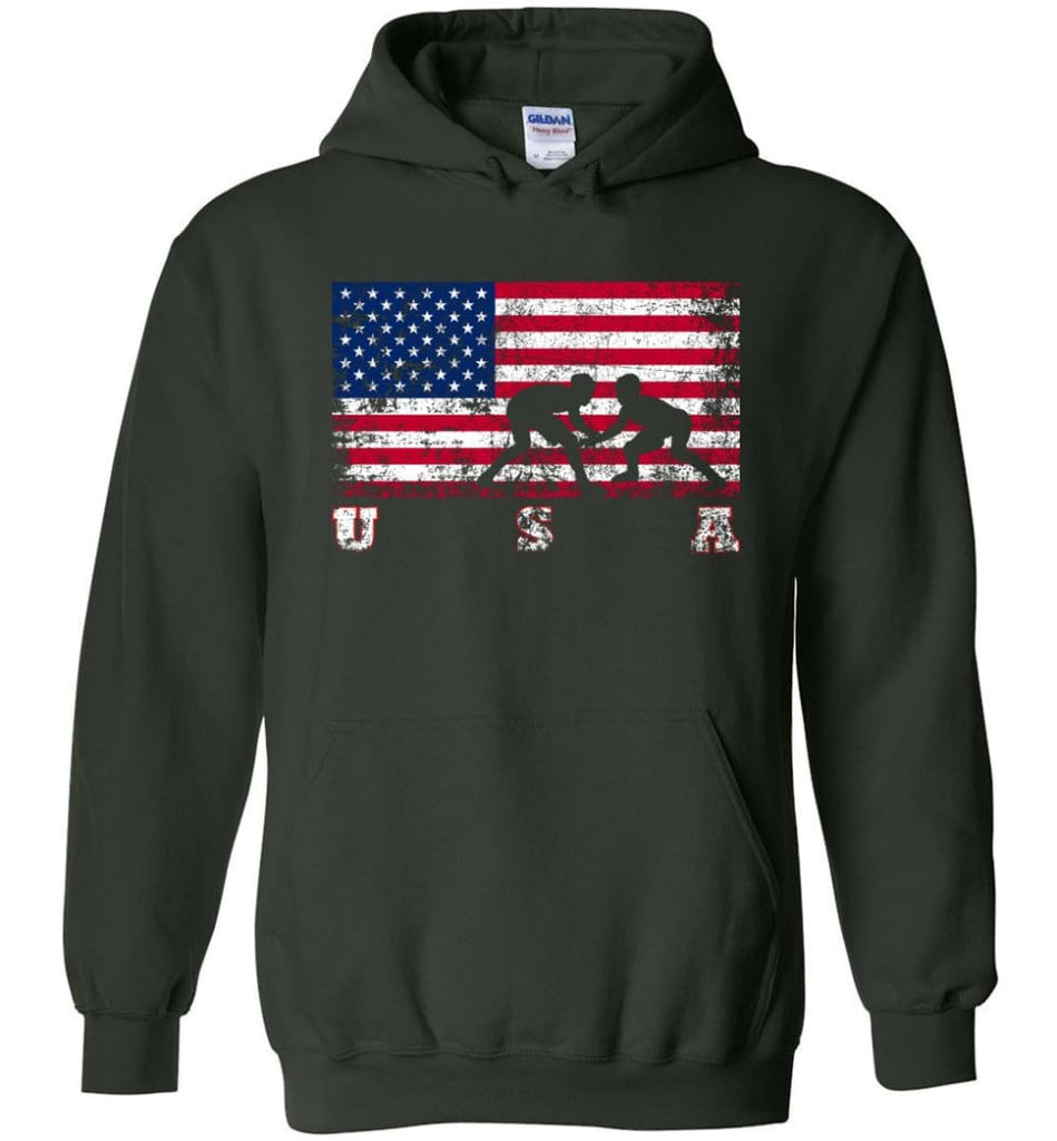 American Flag Wrestling - Hoodie - Forest Green / M