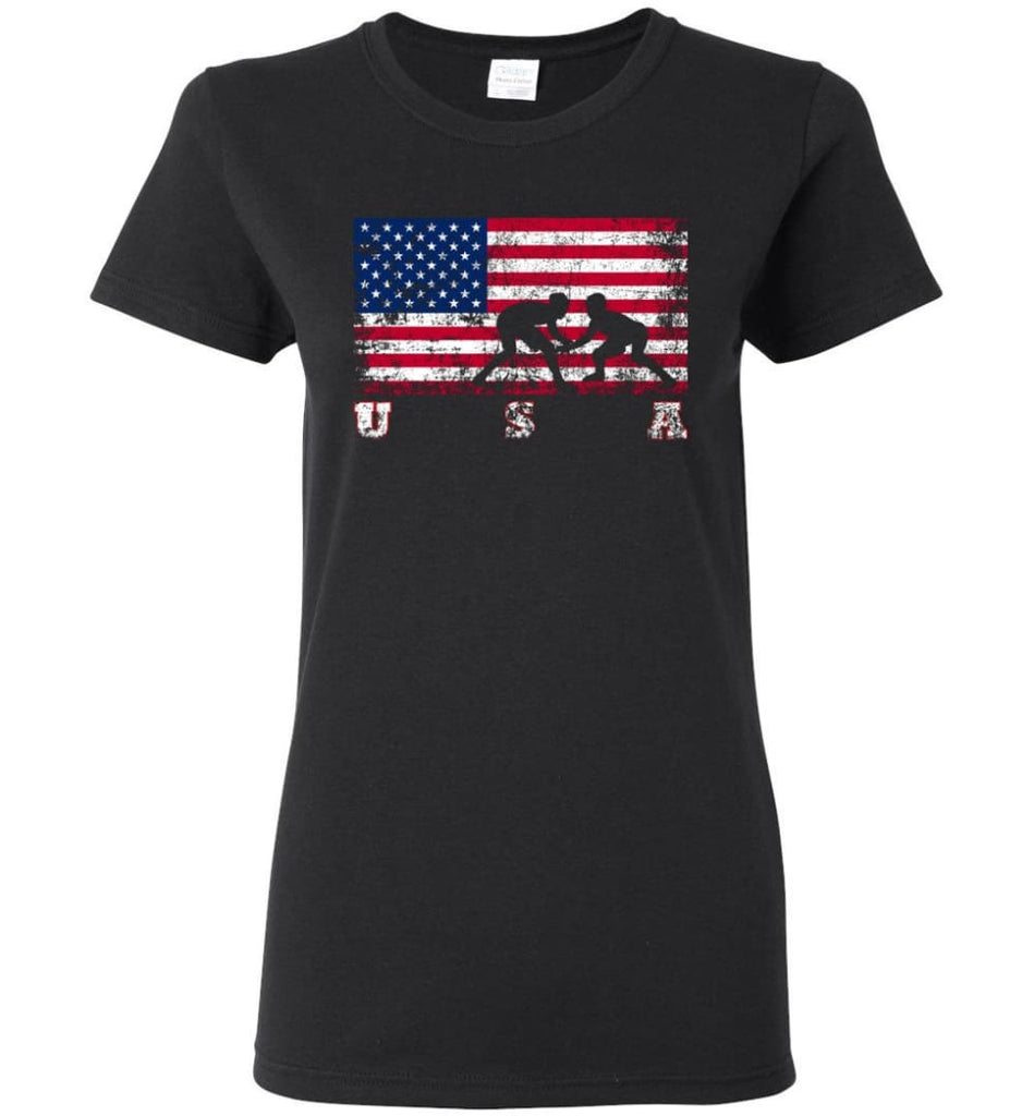 American Flag Wrestling Women Tee - Black / M