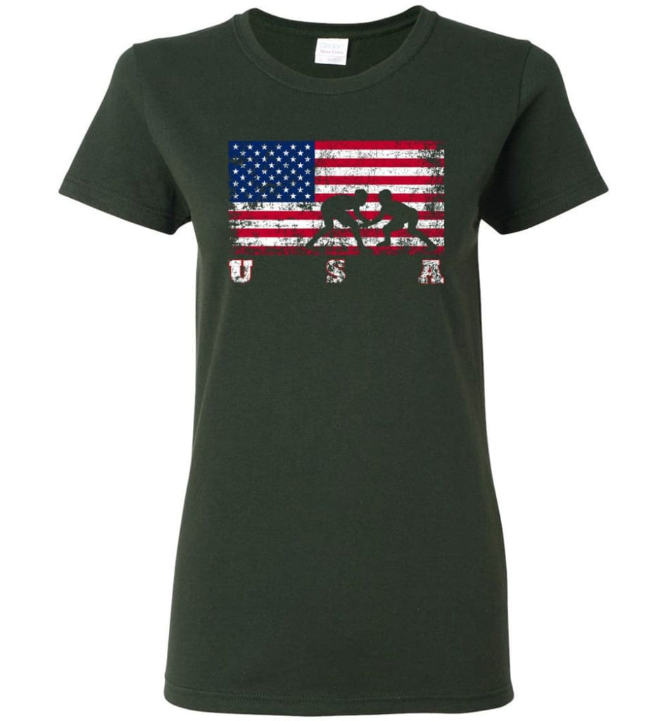 American Flag Wrestling Women Tee - Forest Green / M