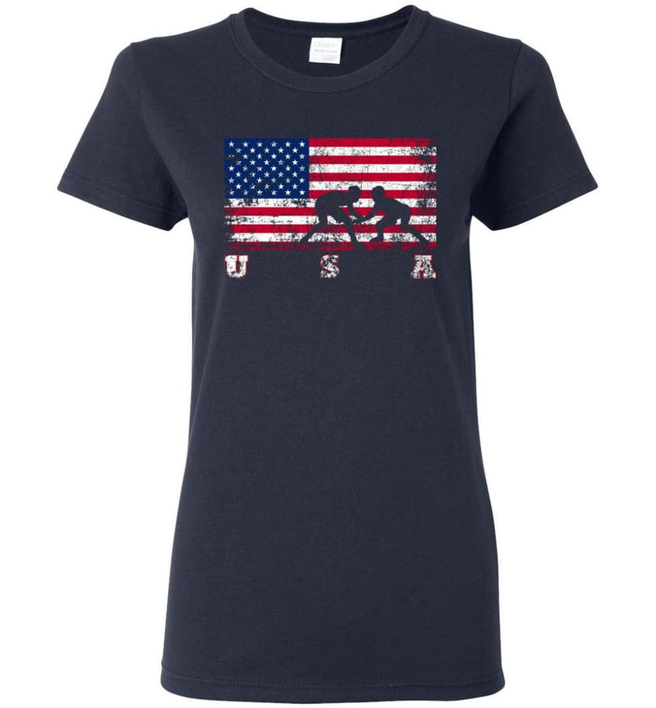 American Flag Wrestling Women Tee - Navy / M