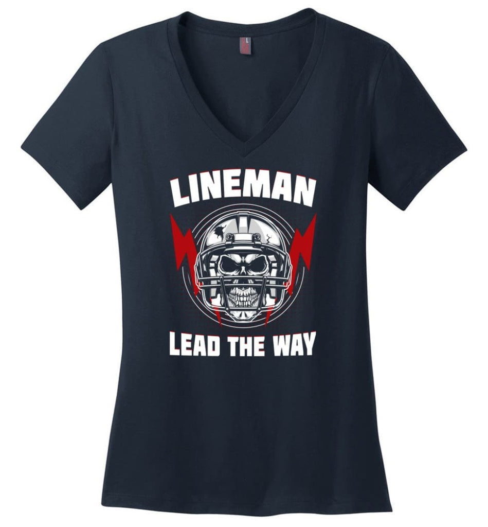American Football Lineman Shirts Lineman Lead The way - Ladies V-Neck - Navy / M