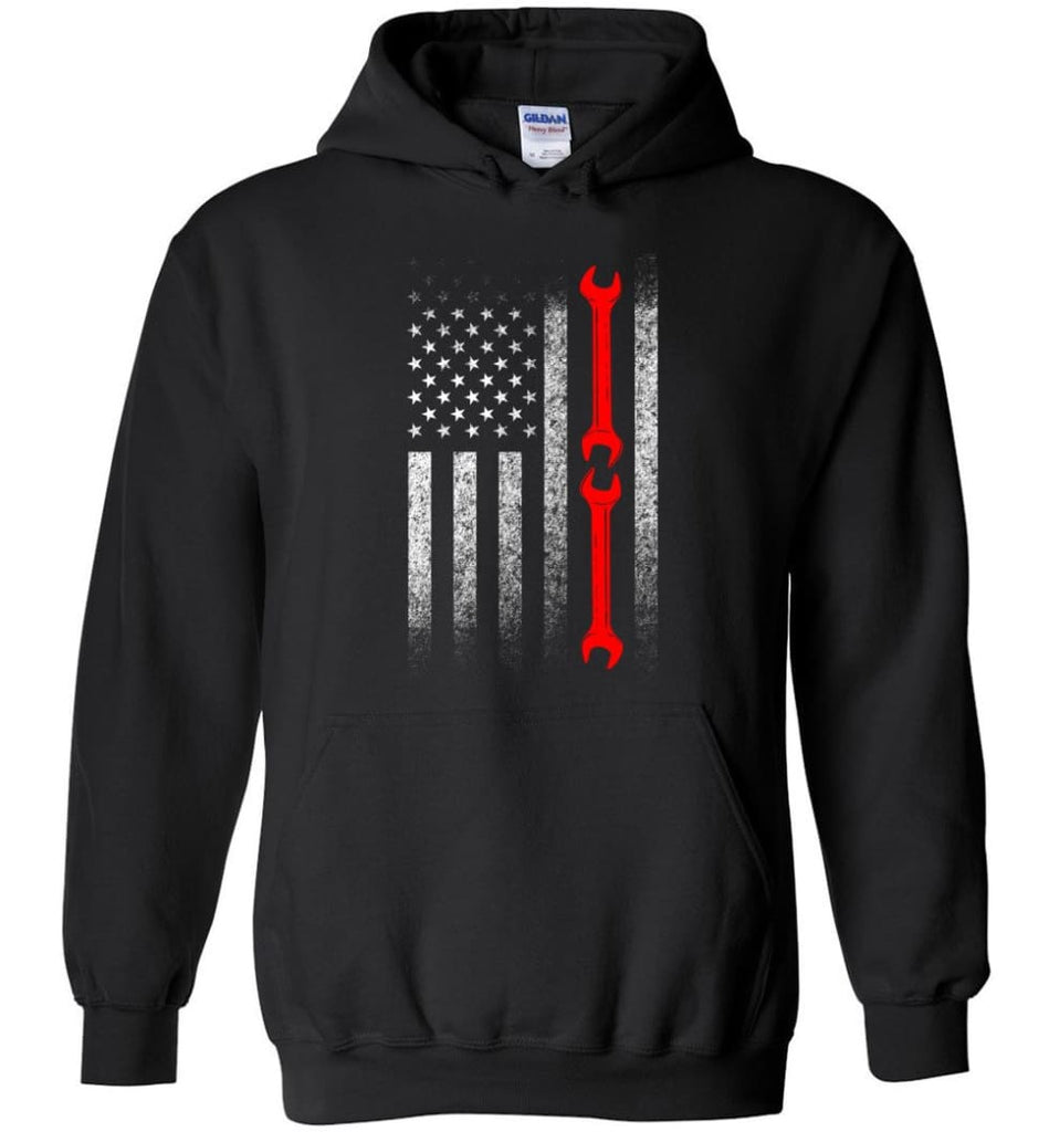 American Mechanic Flag Shirt - Hoodie - Black / M