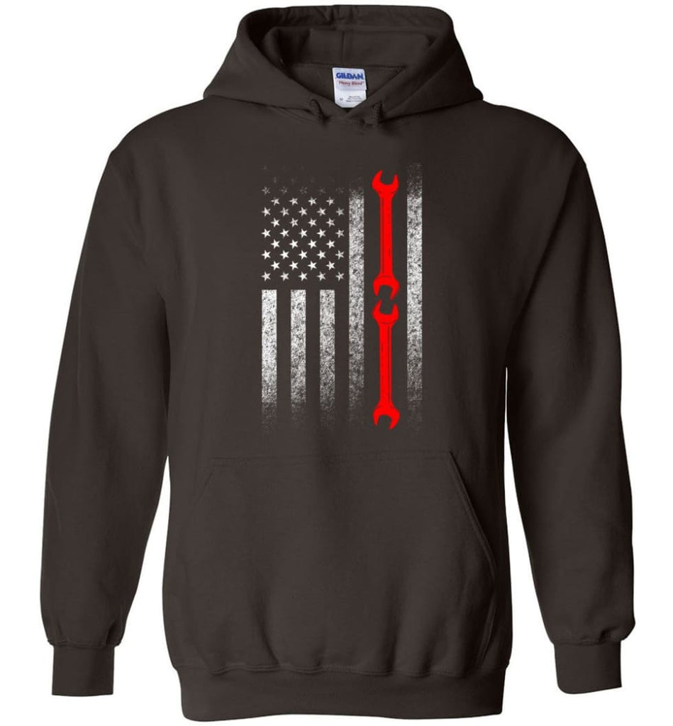 American Mechanic Flag Shirt - Hoodie - Dark Chocolate / M