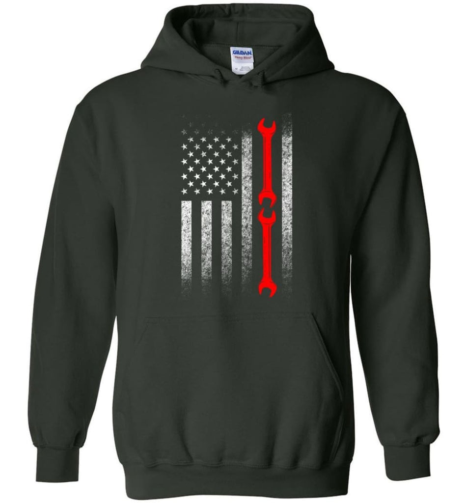 American Mechanic Flag Shirt - Hoodie - Forest Green / M