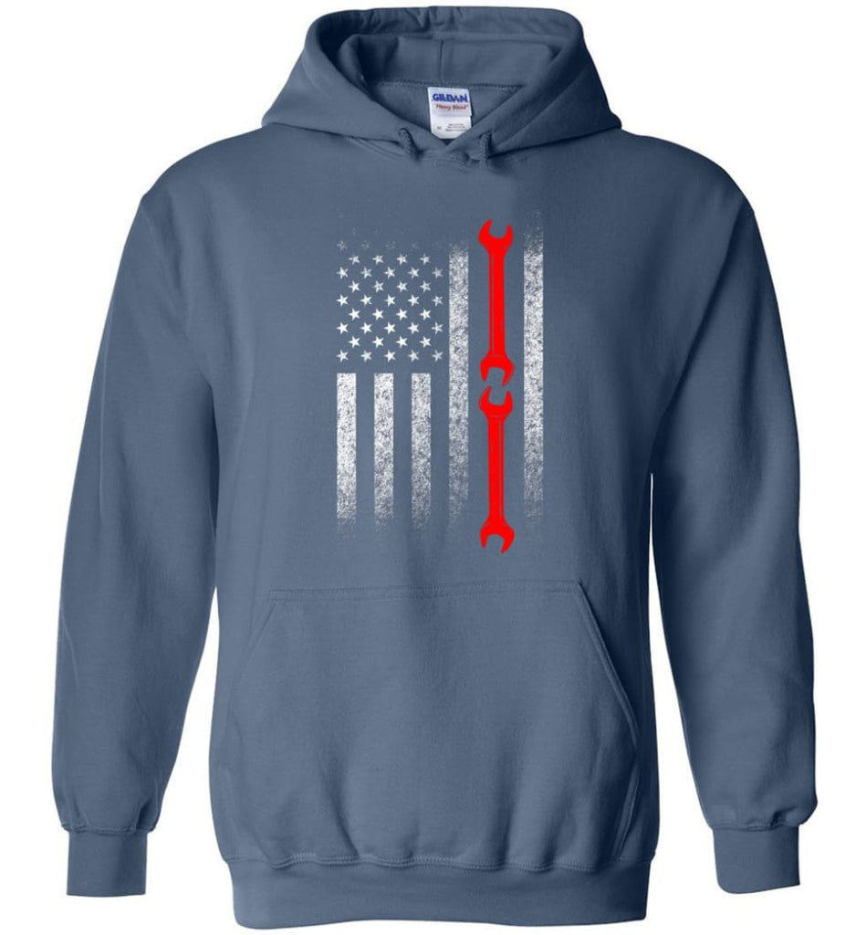 American Mechanic Flag Shirt - Hoodie - Indigo Blue / M