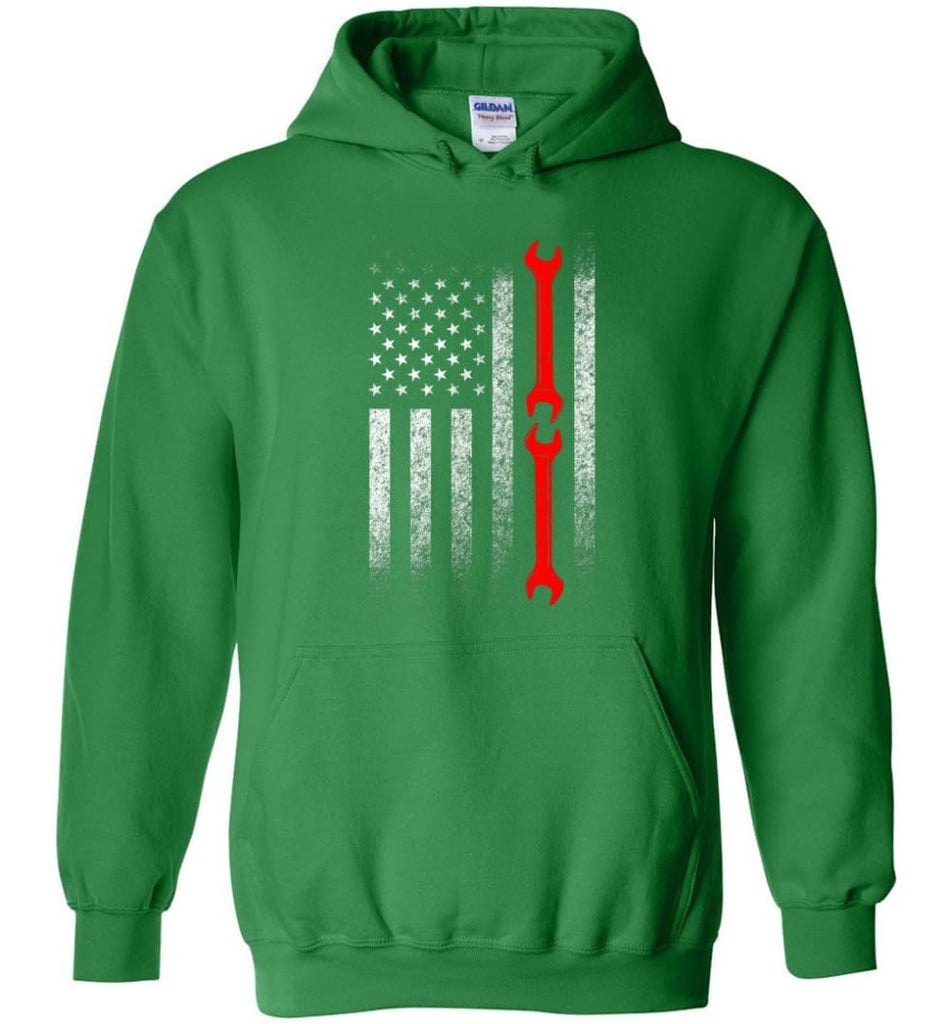 American Mechanic Flag Shirt - Hoodie - Irish Green / M