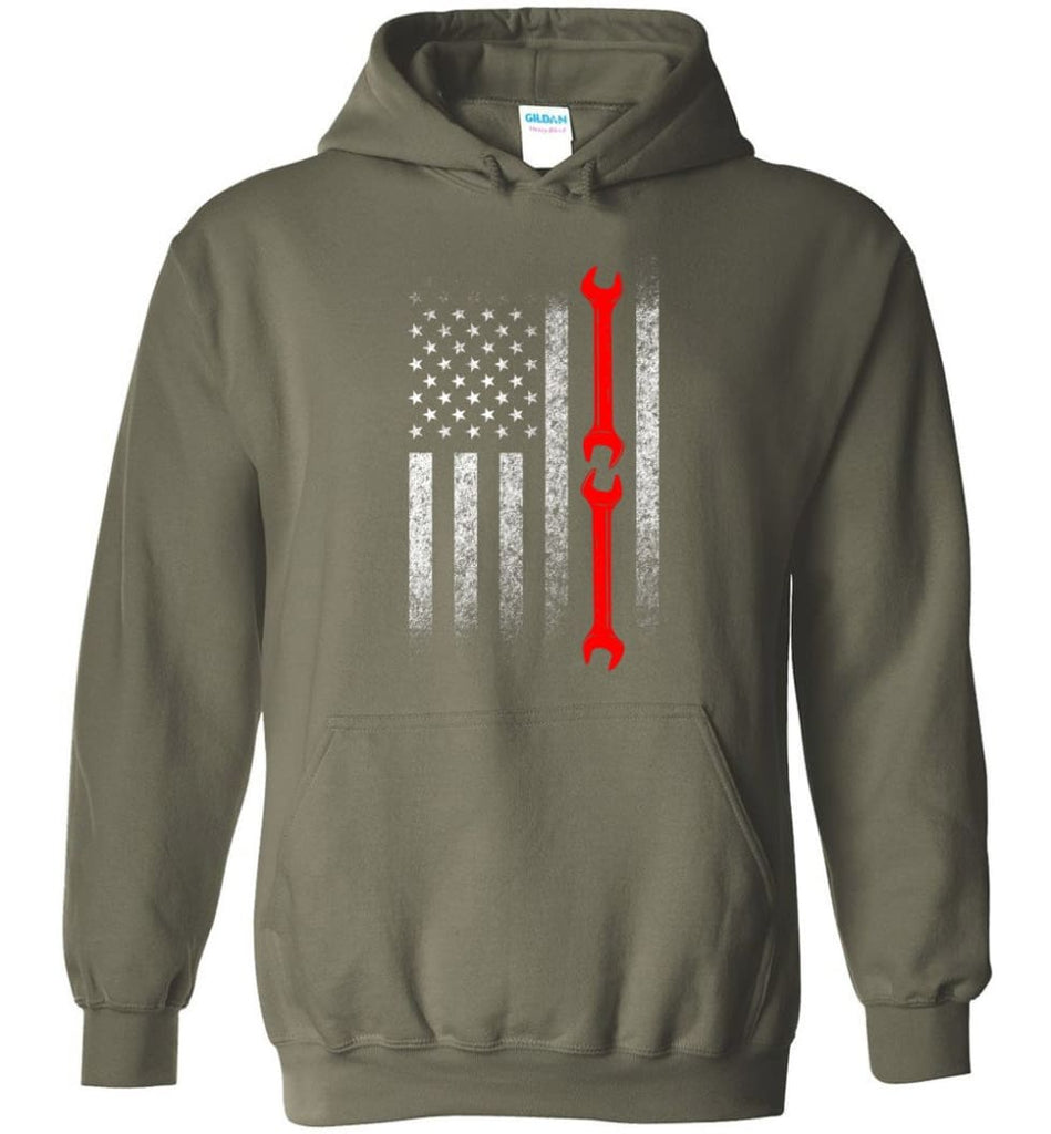 American Mechanic Flag Shirt - Hoodie - Military Green / M