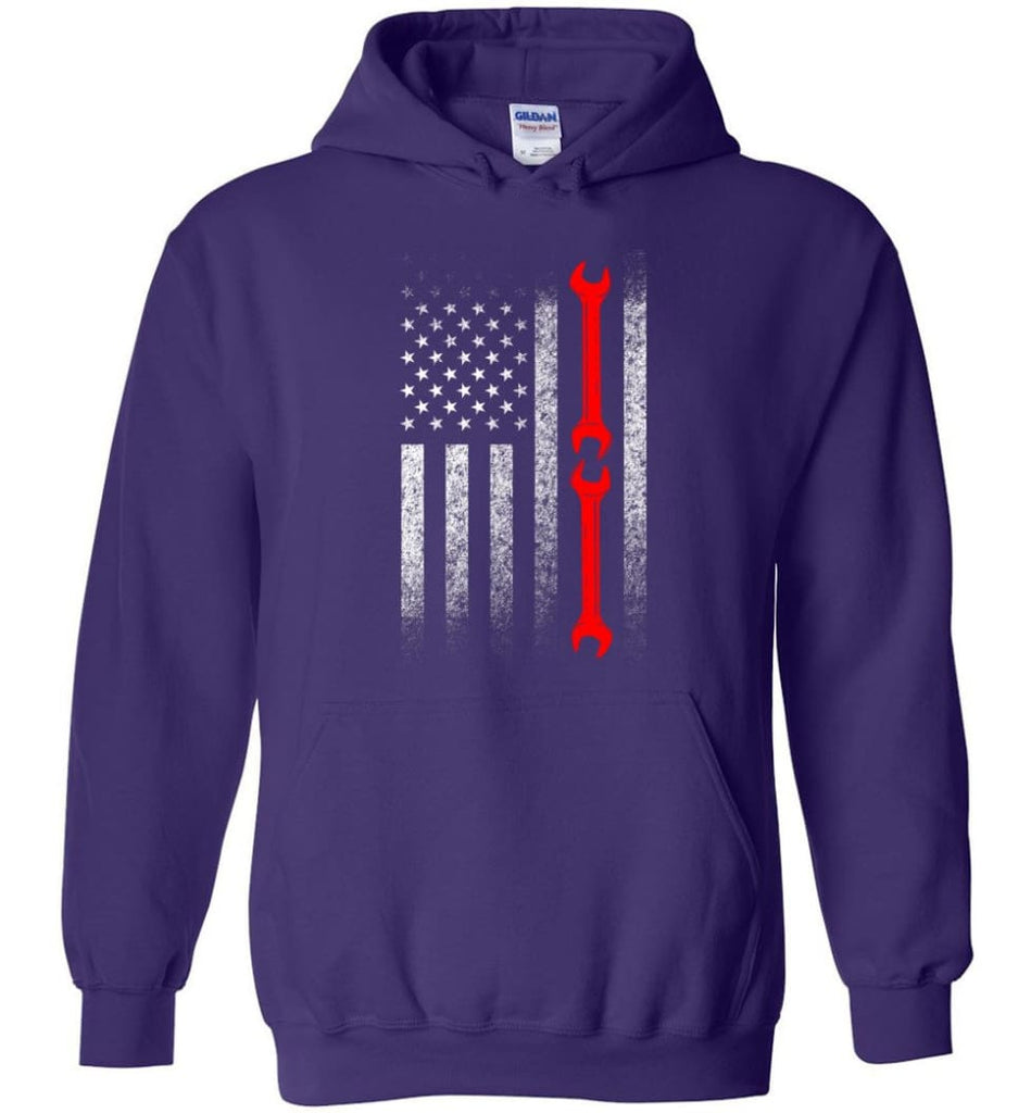 American Mechanic Flag Shirt - Hoodie - Purple / M