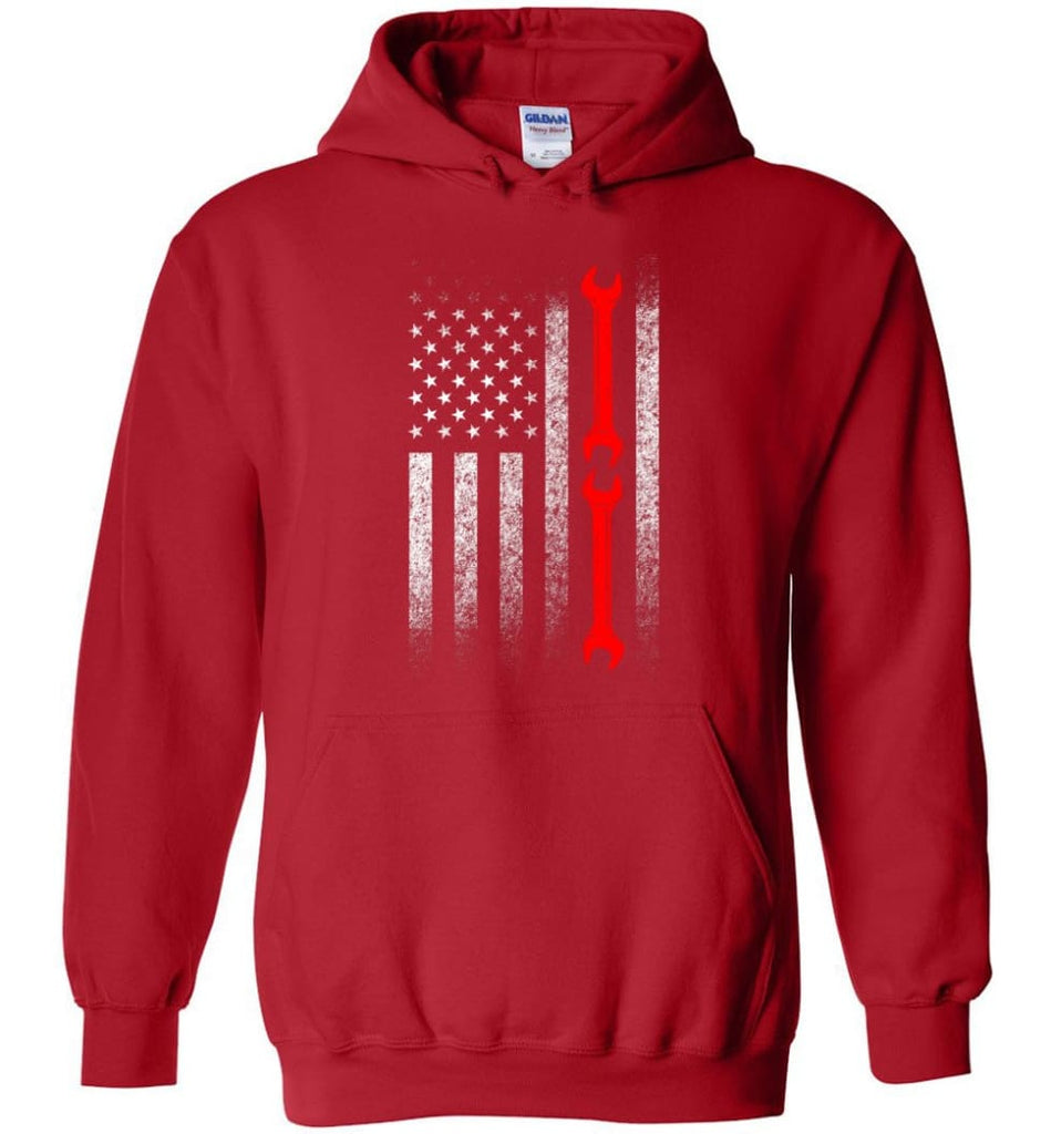 American Mechanic Flag Shirt - Hoodie - Red / M