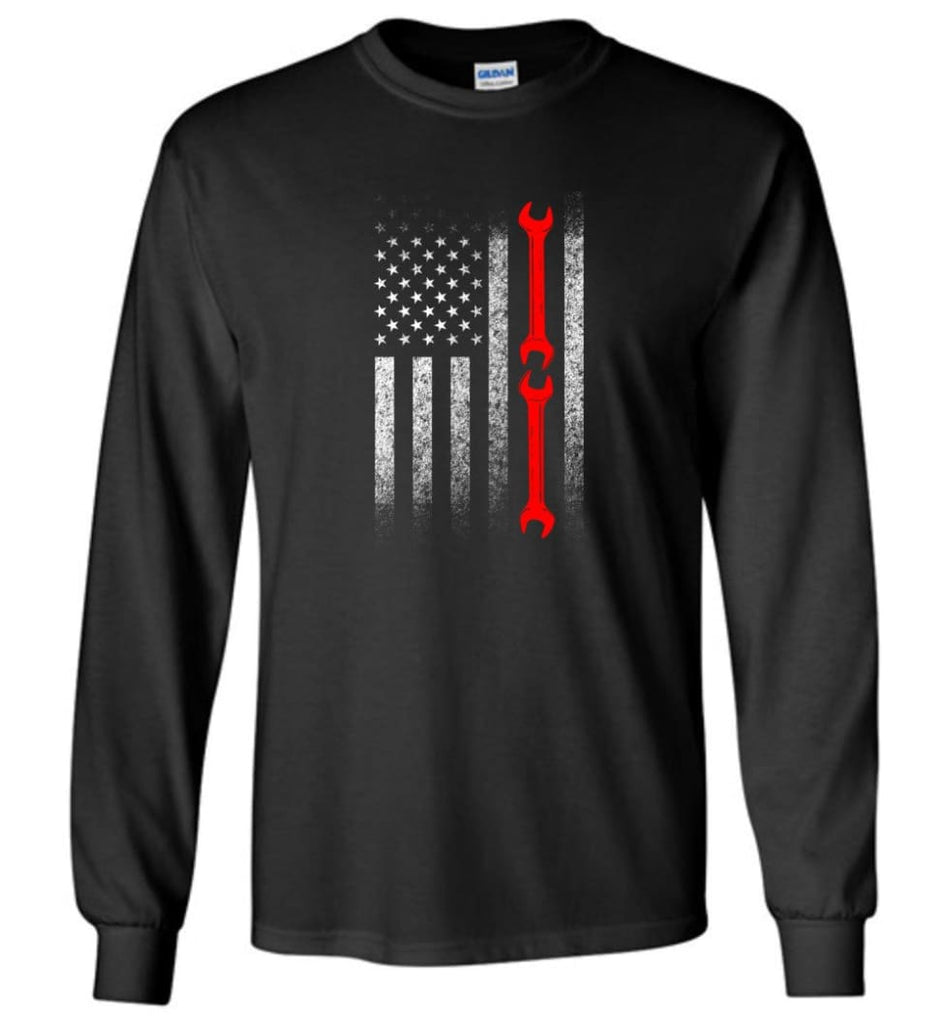 American Mechanic Flag Shirt - Long Sleeve T-Shirt - Black / M