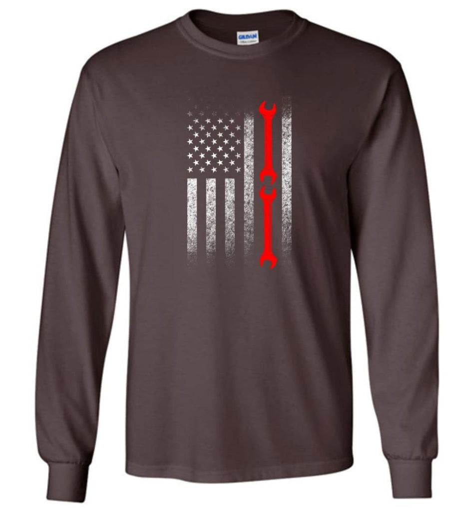 American Mechanic Flag Shirt - Long Sleeve T-Shirt - Dark Chocolate / M