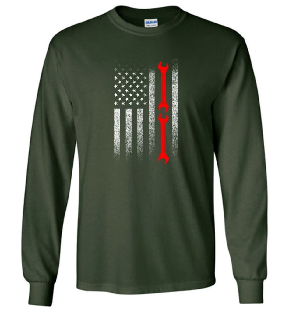 American Mechanic Flag Shirt - Long Sleeve T-Shirt - Forest Green / M