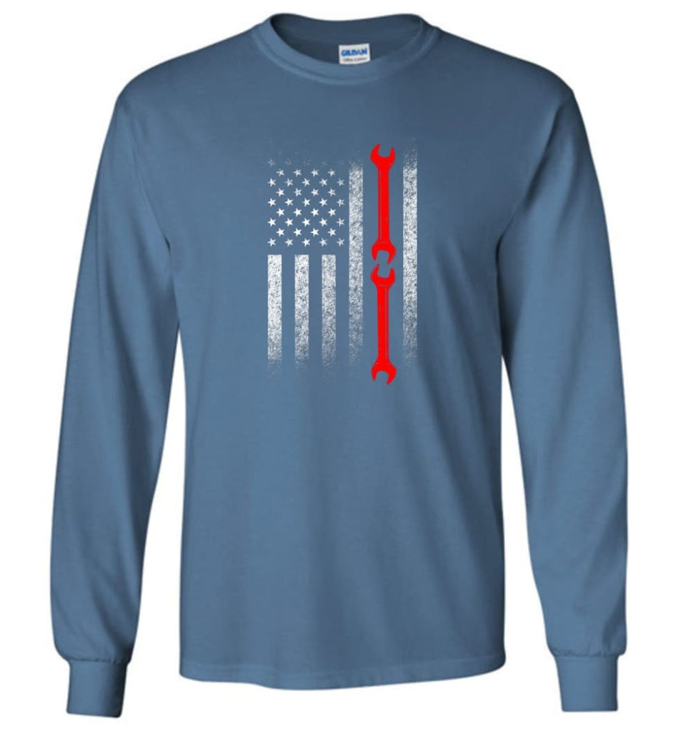 American Mechanic Flag Shirt - Long Sleeve T-Shirt - Indigo Blue / M