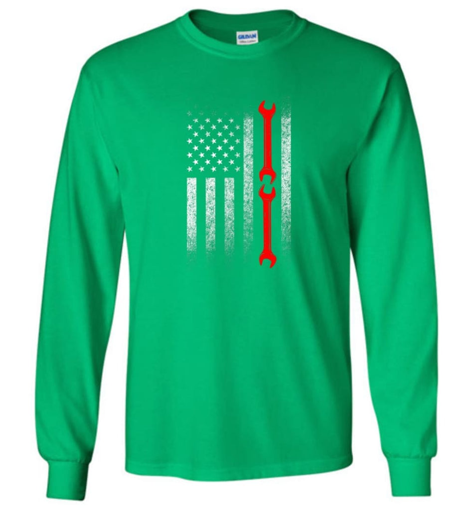 American Mechanic Flag Shirt - Long Sleeve T-Shirt - Irish Green / M