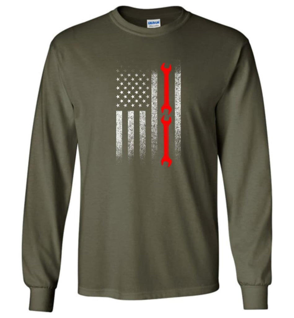 American Mechanic Flag Shirt - Long Sleeve T-Shirt - Military Green / M